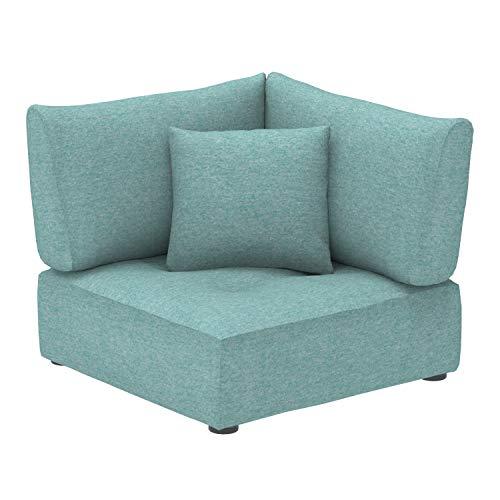 Amazon Marke -Alkove Elvas - Modulares Sofa, Eckmodul mit Stauraum und extra Kissen, 100x100cm, Türkis