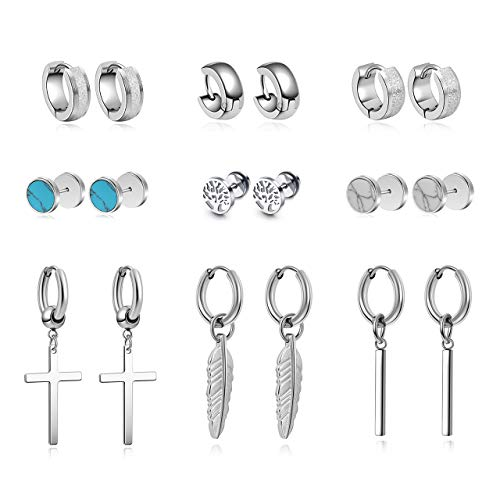 PiercingJak 9 Pairs Earrings for Men Stainless Steel Tree of Life Stud...