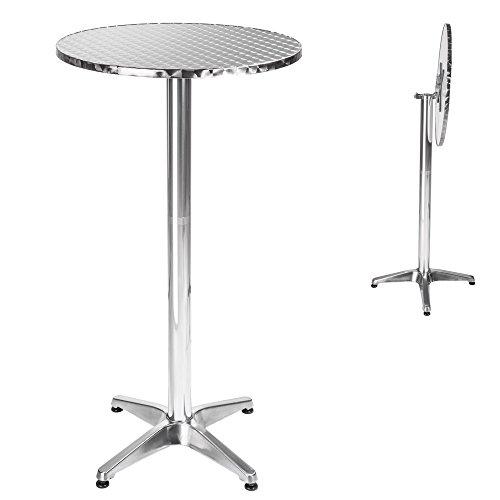 TecTake Table haute de bar rabattable aluminium hauteur réglable 74 ou 114 cm Ø 60cm - Tube central Ø : 5,8 cm - 8,3 kg - diverses couleurs au choix - ('Viktor' rabattable | No. 401489)