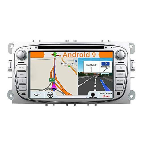 BWHTY Unidad Principal estéreo de Coche de Doble DIN Android 9.0 para Ford Focus/Mondeo/S MAX/C Ma/Galaxy Navegación GPS para Coche |7 Pulgadas 2G + 32G 8 núcleos |Cámara y Canbus Gratis |Soport