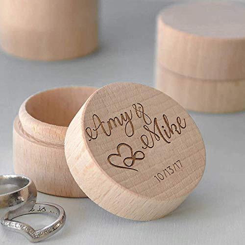 happygoluck1y - Caja de madera para anillos de boda, personalizable con nombre y fecha, caja de anillo de compromiso, soporte para anillo de boda, caja de regalo para ceremonia, decoración rústica de boda