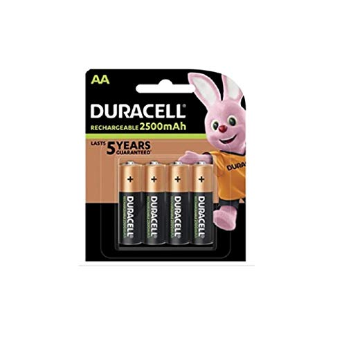 Duracell - Pile Rechargeable - AA x 4 - Stay Charged, LR6 (L'emballage peut varier)