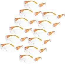 JORESTECH Eyewear Protective Safety Glasses, Polycarbonate Impact Resistant Lens Pack of 12 (Orange)