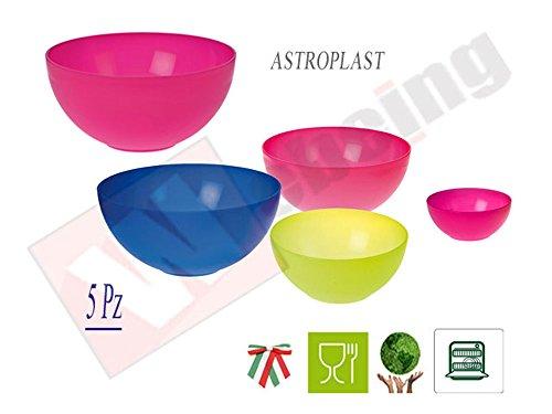 Astroplast Set 5 Ciotole PLASTICA Rigida Lavabile in LAVASTOVIGLIE Composto da 1 Ciotola da Snack da 14 CM 3 Ciotole Medie da 20,24 E 28 CM Una Ciotola Grande da 32 CM -