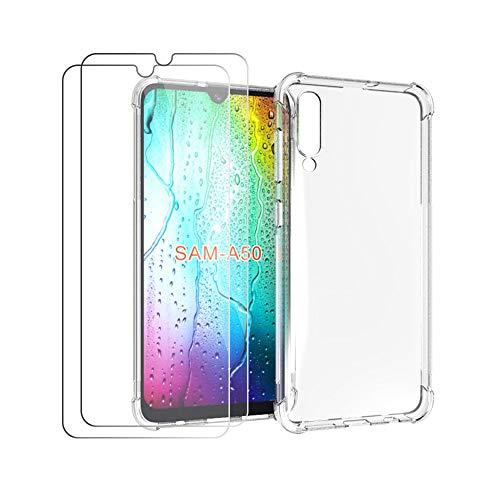 HYMY Custodia per Samsung Galaxy A50 + 2 x Pellicola Protettiva - Trasparente Silicone Case TPU Protettivo Rinforzo a Quattro Angoli Custodia Resistenza sismica Cover per Samsung Galaxy A50 (6.4')