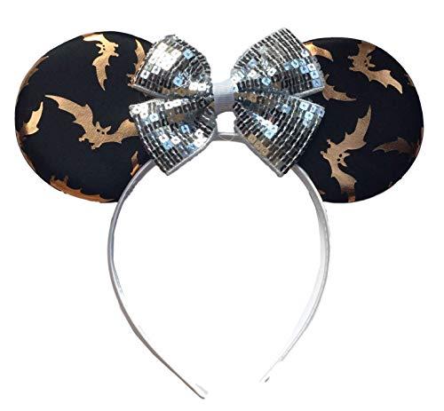 Bat Minnie Mouse Zwart Oranje Zilver Sequinned Bow Fancy Jurk Hoofd Band Oren Halloween