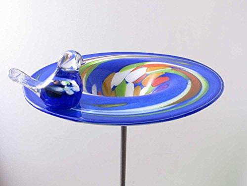 Edle Vogeltränke aus Glas blau D 29 cm handgefertigt Vogelbad Glasobjekt