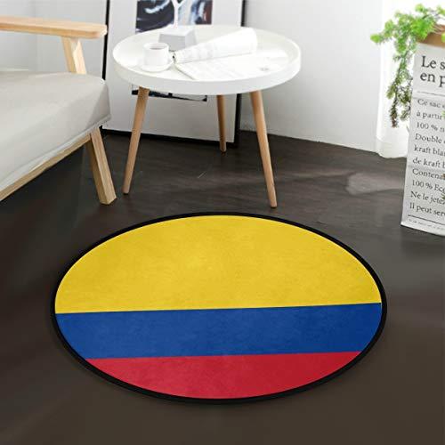 DEZIRO Alfombra redonda con bandera de Colombia, alfombra antideslizante, para el hogar u oficina