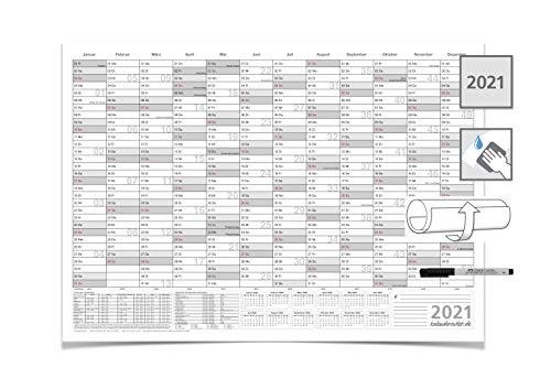 Wandkalender/Jahreskalender 2021, DIN A2 59,4 x 42,0 cm mit 1 Marker feucht abwischbar grau