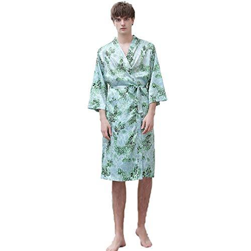 LFNIU Camisón de seda para mujer pareja de verano albornoz de seda fina de hielo seda masculina talla grande pijamas sueltos simulación de seda servicio a domicilio(Color:Mr-D,Size:XL)