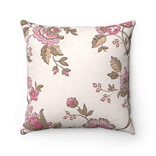 Promini Pillow Cover, Vintage Floral, Botanical Pink Brown Beige, Modern Pillowcase Watercolor, Decorative Couch Pillow Throw Pillow Covers Case Cushion for Sofa Home Decor 22 x 22 Inches