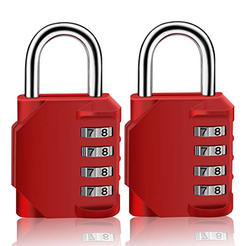 HYCOPROT Combination Lock 2 Pack Waterproof Resettable 4 Digit Padlock for School Gym Locker Outdoor Hasp Cabinet Gate Shed Fence (Red, 2 Pack)