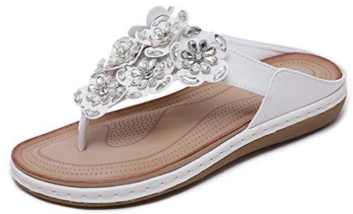 Damen Flach Zehentrenner Sandalen Sommerschuhe Leder Elegant Blumen-Perlen Schuhe Casual Sommer Flip-Flop Hausschuhe rutschfest Pantoletten Mode Strandschuhe