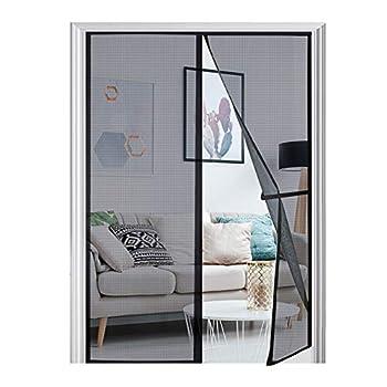 [Upgraded Version] Magnetic Screen Door 74 x81  Homitt Durable Fiberglass Mesh Curtain Magnet Patio Door with Full Frame Hook & Loop Auto Closer Fits Door Size up to 72 x80  Max- Black