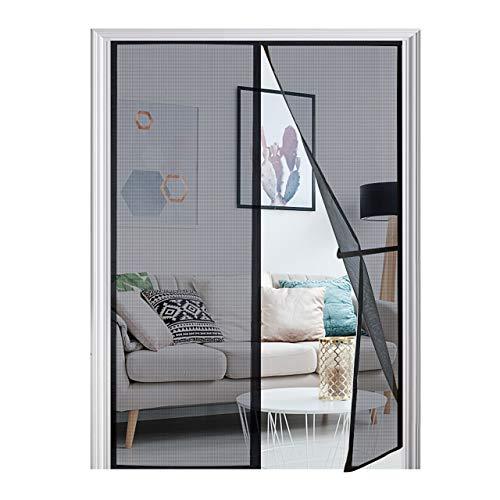"""[Upgraded Version] Magnetic Screen Door 74""""x81"""", Homitt Durable Fiberglass Mesh Curtain, Magnet Patio Door with Full Frame Hook & Loop, Auto Closer Fits Door Size up to 72""""x80"""" Max- Black"""