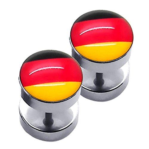 tumundo Set Fußball Fan-Artikel Deutschland Fahne WM EM 2016 Armband Haarband Ohrringe Fake Plug Creolen Krawatte, Variante:Mod 9 - Fakeplugs - Ø 10 mm