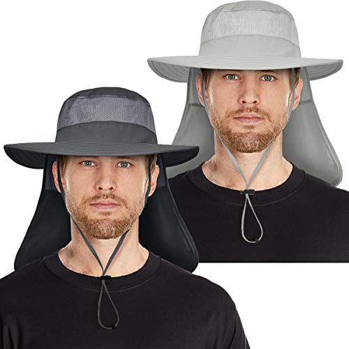IYEBRAO 2 Pieces Mens Sun Protection Hat with Neck Flap for Fishing Hiking & Garden (Dark Grey&Light Grey)