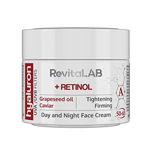 RevitaLAB Hyaluron Anti-Ageing Tages- und Nachtcreme mit Retinol, Kaviar und roten Trauben, für...