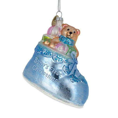 BestPysanky Teddy Bear in a Blue Shoe Baby's First Christmas Ornament 3.25 Inches