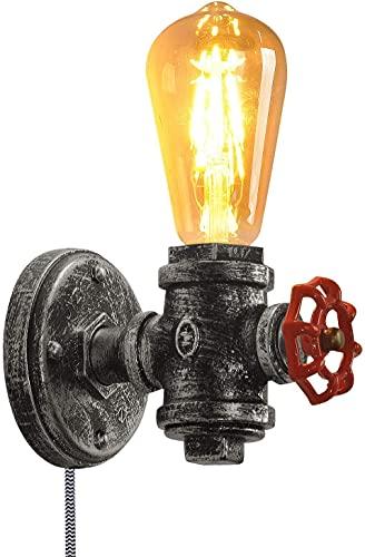 Dkdnjsk Accesorio montado en escoce rústico con válvula roja Metal Steampunk Luz Ligera Lámpara de Pared Industrial Base con Cable de Enchufe E27 Base Retro Iluminación Decoración de la casa de Campo