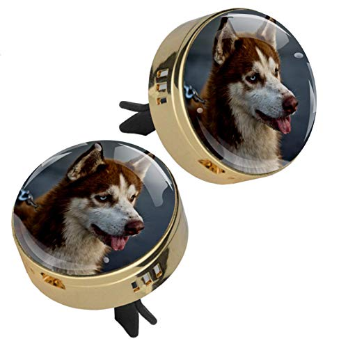 Z&Q Husky 2 Packs Zinc alloy Car Diffuser Vent Clips Aromatherapy Essential Oil Car Diffuser Locket Clip with 4 PE supplementary pad 1.33inX1.83in