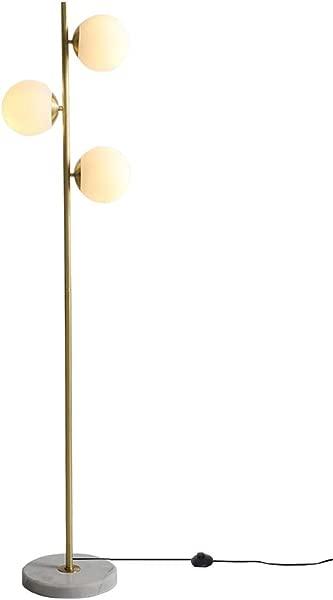 Dellemade LED Floor Lamp 3 Glass Globes Floor Light LED Bulbs Included Golden