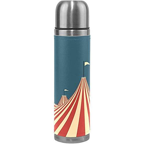 Like-like Große Top Zirkuszelt Edelstahl Wasserflasche auslaufsicher vakuumisolierte Kolben Topf Sport doppelwandigen PU-Leder