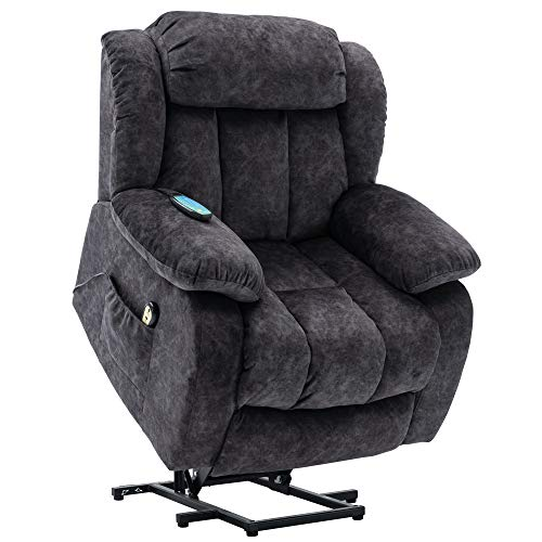 Power Massage Lift Recliner Chair with Heat & Vibration for Elderly, Heavy Duty and Safety Motion Reclining Mechanism Anti skid Fabric Sofa Contempoary Overstuffed Design (Gray)