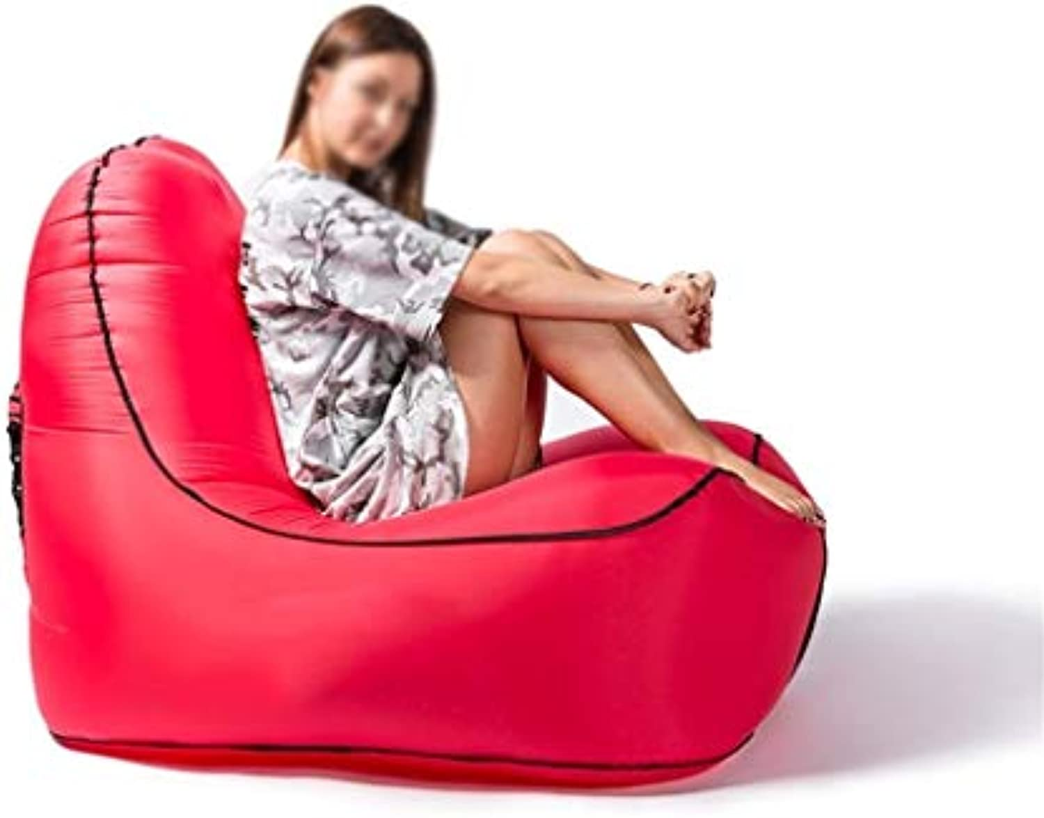 JGWJJ Inflatable Lounger, Waterproof Air Lounger with Thicker Fabric, Portable Lazy Lounger Inflatable Sofa Couch, Outdoor Sofa for Camping, Hiking, Swimming Pool, Beach (color   Red)