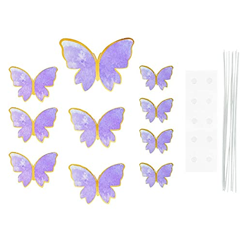 JinEamy-uk 1Set Butterfly Paper Cake Topper Happy Birthday Cupcake Toppers For Baby Shower Wedding Party Girl Birthday Cake Decoration ( Color : H02 1set )