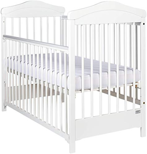 Wooden White Cot Bed'Hippo' Drop Side Free Teething Rails