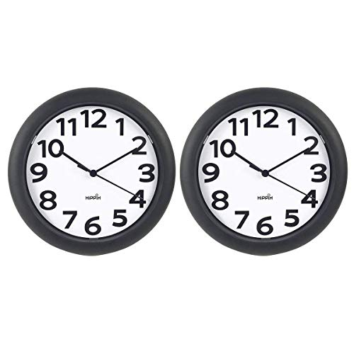 hippih 2 Pack Silent Wall Clock 10 Inch Non-Ticking Battery Operated Round Clocks - Easy to Read for Office/Kitchen/Bedroom/Living Room/Classroom