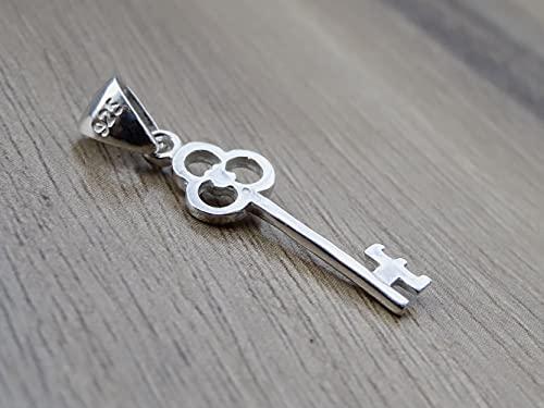 Small Key Pendant Sterling Silver 925 Lock Necklace Bracelet Charm Fine Jewelry