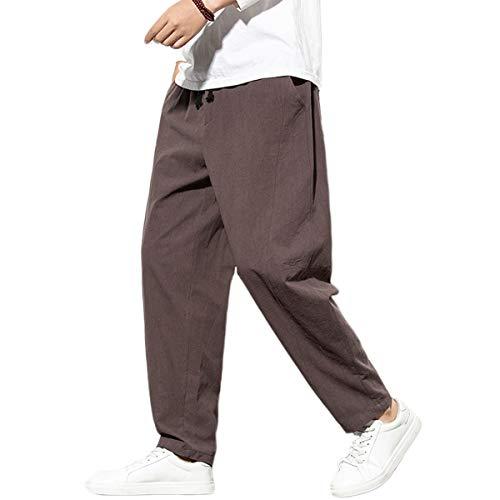 FTIMILD Mens Linen Pants Casual Elastic Waist Drawstring Yoga Beach Trousers Coffee