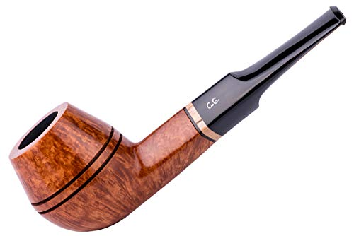 Pipa para fumar tabaco de madera, tallada a mano de raíz de brezo, filtro de enfriamiento de metal, viene con bolsa, en caja (Bulldog, Oro)