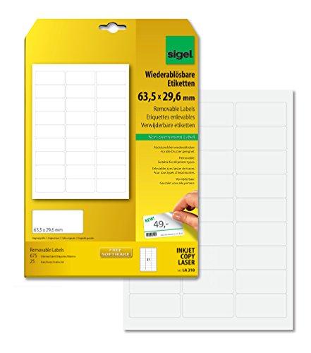 SIGEL LA210 Ablösbare Etiketten weiß, 63,5 x 29,6 mm, 675 Etiketten = 25 Blatt, abgerundet