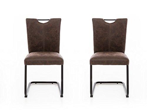Woodkings 2X Freischwinger Schwingstuhl Kenton, Stoff braun, Vintage Optik, Esszimmerstuhl modern, Stuhl mit Griff, Designstuhl, Metallstuhl, Küchenstuhl Set