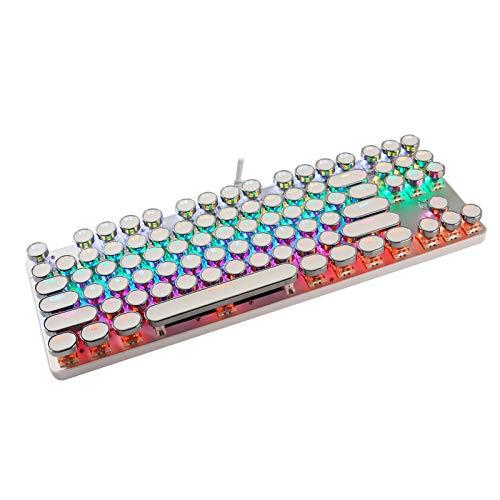 青軸ゲーミングキーボード USB有線 メカニカル式 英語配列 RGB発光 バックライト付き タイプライター風 レトロ風 防水防塵 87キー防衝突 小型 キーキャップ取り外し可能 人間工学 コード付き 打ちやすい PC/仕事/ゲーム用 ノートパソコン/Windows対応(白)
