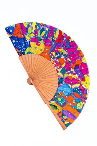 Abanico de Seda Natural pintado a mano de muy alta calidad. Madera de Moabi y tela Crepé de Seda. Diseño exclusivo elegante y moderno. Pieza única. Regalo perfecto para ella. Tamaño mediano.
