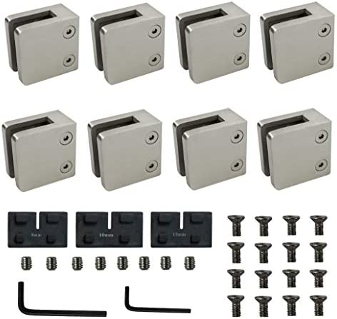 Heavy Duty Square Glass Clamp 8 pcs Large 2 17 Glass Bracket Clamp for Flat SurfaceStainless product image