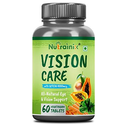 Nutrainix Vision Care   Natural Eye & Vision Support   Combination of Lutein, Vitamin A, Vitamin E, Vitamin B2, Zinc & Copper - 60 Vegetarian Tablets