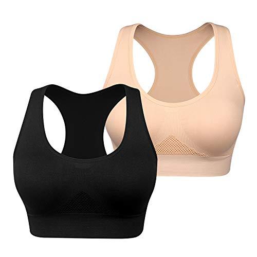 WANAYOU Women's 2 Pack Comfortable Sports Bra Seamless Wireless Racerback Yoga Bras Breathable Sleeping Bras Summer Bras for Running Workout Pilates Gym Fitness