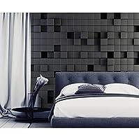 mzznz 背景の壁画から黒のテクスチャシングルアパート壁の突出-250X175Cm