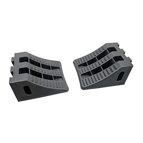 """ROBLOCK Wheel Chocks Heavy Duty Trailer Chock with Rubber Pad in The Bottom - 2 Pack Black, 9.2"""" Long x 8.2 Wide x 4.7"""" High"""
