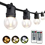 3-Color in 1 LED Dimmable Outdoor String Lights with Remote,48FT Connectable Waterproof Patio Lights of String,G45 Bulbs Warm/Nature/Daylight White Shatterproof LED String Lights for Bistro Pergola