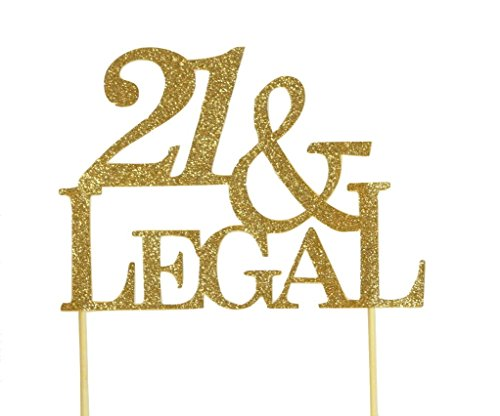 All About Details Gold 21-&-Legal Cake Topper, 4.3' Height (Plus 4' Wood Stick Handles) And Up To 6' Width