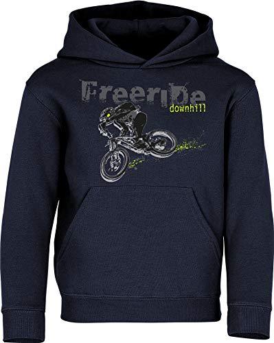 Kinder Pullover: Freeride Downhill - Hoodie Kapuzenpullover Pulli Fahrrad Geschenk-e Jungen & Mädchen - Radfahrer-in Mountain Bike MTB BMX Rad Outdoor Junge Kind Sport Geburtstag (Navy 152)