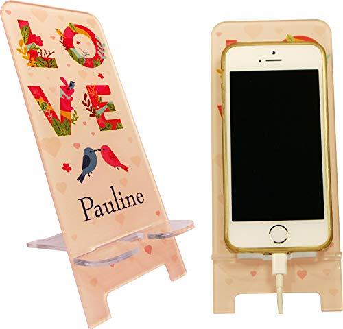 Support de Téléphone portable Personnalisable – Love you Forever – Cadeau de Saint valentin - contrairement à une coque de Smartphone : socle universel toute marque et modèle mobile – Iph.SvO