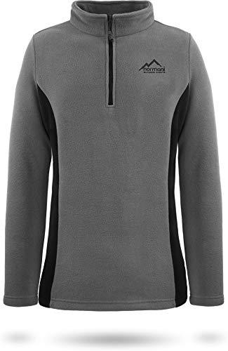 normani Damen Fleecepullover Winterpullover Skipullover mit Stehkragen und halber Reißverschluss, schnelltrocknend und EXTREM warmes Sweatshirt 280 g/m² Farbe Grau/Schwarz Größe XL