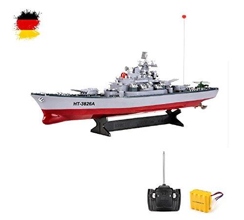 HSP Himoto RC ferngesteuertes Schlachtschiff mit Akku im Maßstab 1:250, Schiff-Modell im Zerstörer-Design, Kriegsschiff Modell, Ready-to-Run, Komplett-Set